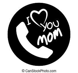 amor, desenho, mãe, ícone
