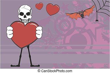 Amor, dia das bruxas, esqueleto, fundo, caricatura