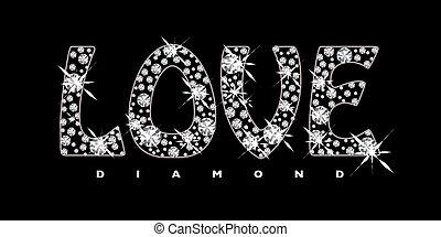 amor, diamante, ícone