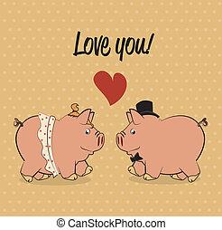 amor, diseño, cerdo