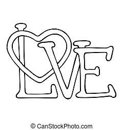 amor, diseño, con, corazón