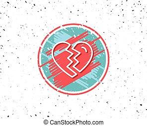amor, divorcio, signo., arriba, interrupción, línea, icon.