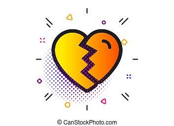 amor, divorcio, signo., arriba, interrupción, vector, icon.
