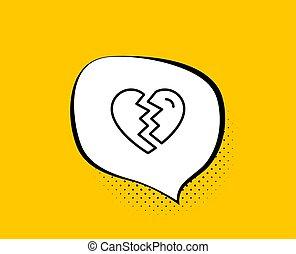 amor, divorcio, signo., arriba, interrupción, vector, línea, icon.