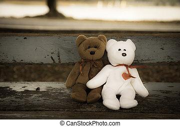 amor, dos, oso,  teddy