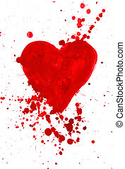Amor - Abstract painting of heart covered with splashes over...