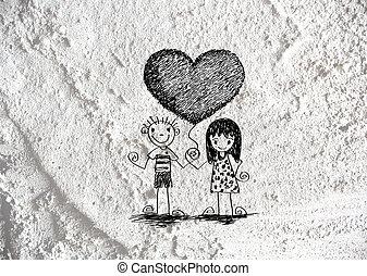 amor, e, corações, para, valentine, desenho