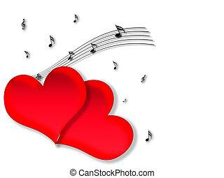 amor, e, música