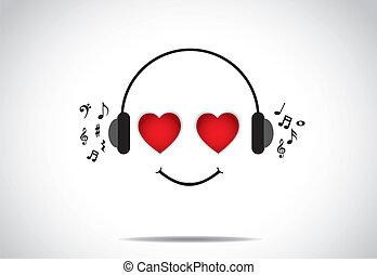 amor, el gozar, música, persona, sonrisa