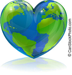 amor, el mundo, corazón, concepto