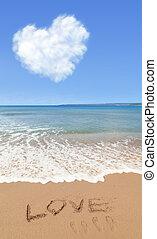 amor, em, verão, em, praia