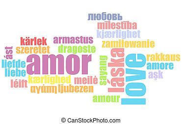 amor, en, muchos, idiomas