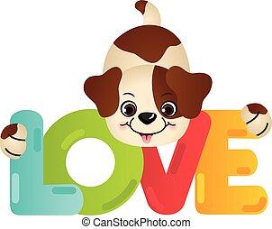 amor, engraçado, palavra, cão