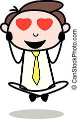 amor, escritório, -, vetorial, illustration?, empregado, homem negócios, queda, caricatura