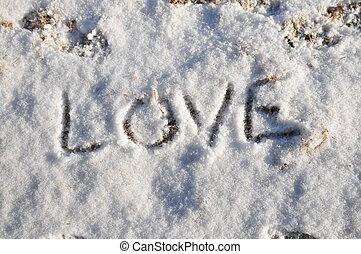 amor, escrito, em, a, neve