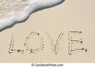 amor, escrito, em, areia, ligado, praia