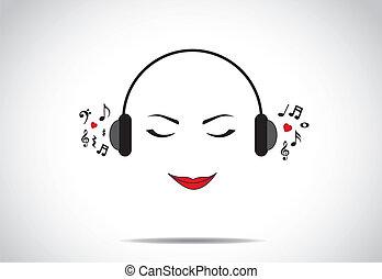 amor, escutar música, conceito