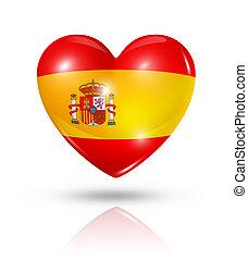 amor, espanha, coração, bandeira, ícone