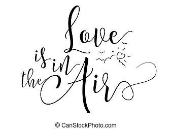 amor está ar, inscription., cartão cumprimento, com, calligraphy., mão, desenhado, desenho, elements., preto, white.