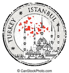 amor, estampilla, mezquita, azul, estambul, vector, diseño
