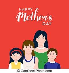 amor, família, mães, ilustração, dia, feliz