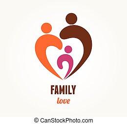 amor familiar, -, coração, ícone, e, símbolo