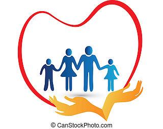 amor familiar, protegido, por, mãos, logotipo