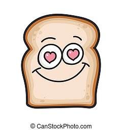 amor, fatia, caricatura, pão, sorrindo, ilustração