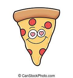 amor, fatia, pizza, feliz, caricatura