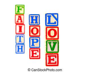 amor, fe, esperanza, 2, carta, bloques