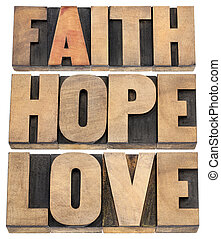amor, fe, esperanza, tipografía