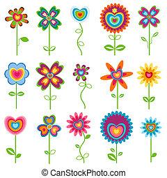 amor, flores retro