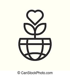 amor, globo, árvore, planeta, desenho, terra, ou, ícone