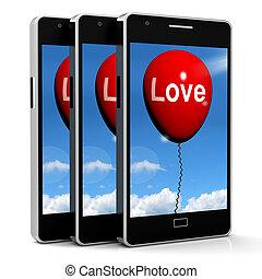 amor, globo, exposiciones, cariño, y, cariñoso, sentimientos