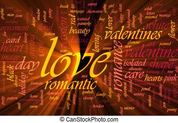 amor, glowing, palavra, nuvem