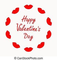 amor, grande, vermelho, cheio, redondo, day., feliz, grossas, valentines, lábios, experiência., apartamento, branca, isolado, card., quadro, desenho