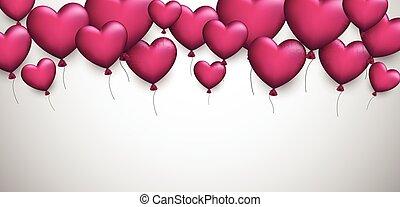 amor, hearts., fundo, valentine