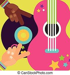 amor, hippie, paz, livre, musical, guitarra, disco, vinil, mãos, espírito