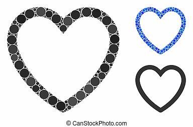 amor, icono, círculo, composición, puntos, corazón