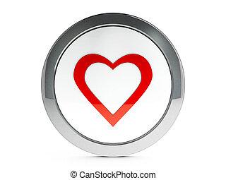 amor, icono, con, toque de luz