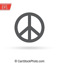 amor, illustration., liberdade, sinal., paz, símbolo., pacifism, emblem., unidade, vetorial, harmonia, label., antiwar, hippie, mundo, icon., amizade, concept., art.