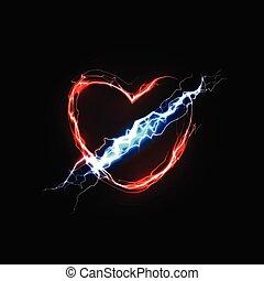 amor, illustration., resumen, love., rayo, energy., sentimientos, vector, pasión, heart., asociado, símbolo