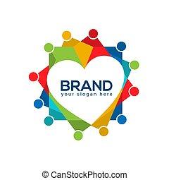amor, ilustração, experiência., vetorial, human, ícone, logotipo, branca