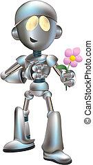 amor, ilustración, golpeado, flor, robot