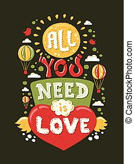 amor, ilustración, moderno, necesidad, hipster, diseño, ...