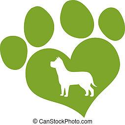 amor, impresión, perro verde, pata