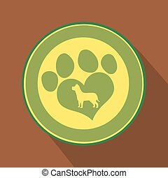 amor, impressão, ícone, círculo, verde, pata