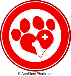 amor, impressão, veterinário, círculo, pata