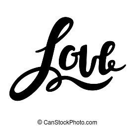 amor, inscripción, manuscrito, letras, vector, illustration.