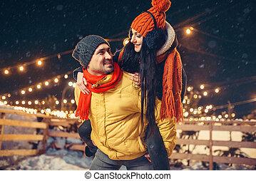 amor, inverno, noite, junte ao ar livre, divertimento, tendo